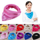 Solid Silk-Satin Kerchief Women Candy Color Small Square Neck Scarves  OW218
