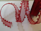 ROMANCE Sheer Red Heart Shaped Organza Love Valentine - Luxury Wire Edged Ribbon
