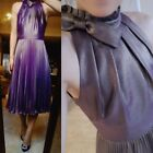 Ted Baker London OLIVIEN High neck pleated midi dress Party Cocktail Purple Gold