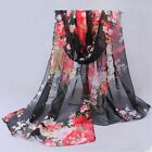 """New WOMEN Black Red Real 100% SILK LONG SCARF SHAWL WRAP """"Floral"""""""