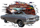 1967 Gray Buick GS Convertible Custom Hot Rod Diner T-Shirt 67 Muscle Car Tee's
