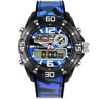 Military Sports Watches Mens Camouflage PU Straps Dual Display LED Watch Digital