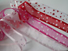 MAY ARTS - LOVE Heart Sheer Organza Ribbon Valentine - 4 colour options - 38mm