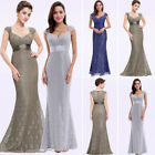 UK Women's Long Grey Lace Fishtail Bridesmaid Prom Party Formal Maxi Dress 08798