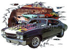 1970 Black Blown Chevy Chevelle SS b Hot Rod Diner T-Shirt 70 Muscle Car Tees