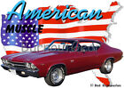 1969 Red Chevy Chevelle SS b Custom Hot Rod USA T-Shirt 69 Muscle Car Tees