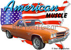 1970 Orange Chevy El Camino SS Custom Hot Rod USA T-Shirt 70 Muscle Car Tees