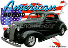 1937 Black Chevy Coupe Custom Hot Rod USA T-Shirt 37 Muscle Car Tees