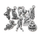 Halloween Pewter Charms Cat Owl Pumpkin Grave Bat Ghost Witch Charm Choice PC60