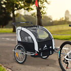 2-Seater Child Bike Trailer Kids Carrier Safety Harness Baby Stroller Jogger