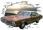1971 Brown Oldsmobile Cutlass Custom Hot Rod Sun Set T-Shirt 71 Muscle Car Tees