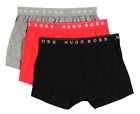 Boss-Hugo Boss Men's Gray-Red-Black Cotton Boxer Shorts 3 Pack