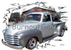 1951 Silver Chevy Pickup Truck a Custom HotRod Garage T-Shirt 51 Muscle Car Tees