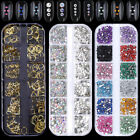 AB Color Nail Art Rhinestone Clear Flat Bottom Multi-size  Gold Rivets