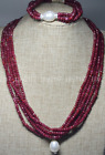 NATURAL 2x4mm RUBY FACETED BEADS NECKLACE BRECELET SET SHELL PEARL PENDANT