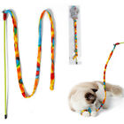 Pet Cat Teaser Interactive Kitten Tease Stick Toy Colorful Rods Plaything US