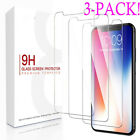 [ 3 Pack ] For iPhone X 8 7 6 Screen Protector Tempered Glass Premium Protection