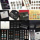 Fashion Rhinestone Crystal Pearl Earrings Set Women Ear Stud Jewelry 12 Pairs image