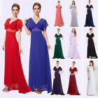 UK Long Womens Short Sleeve V-Neck Prom Bridesmaid Party Evening Maxi Dress 9890