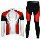 Speed Red Fleece Thermal Winter Cycling Bike Clothing Long Sleeve Jersey + Pants