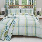 'Kew' Check Duvet Covers Modern Reversible Print Cotton Blend Bedding Set Teal