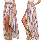 Women Floral Chiffon Ethnic Maxi Dresss Long Slit Skirt Dress For Beach Party