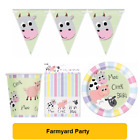 FARMYARD Pastel FARM ANIMALS (Tableware, Balloons and Decorations) (1C)