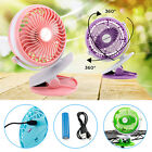 Portable Fan Rechargeable Battery Mini Oscillate Clip On black Desk/Stroller 97k