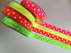 Berisfords SPOTTY Grosgrain ribbon - White dots on 4 different NEON - 16 & 25mm