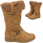 Ladies Kids Boots Warm Winter Mid Calf  Infant Fur Lined Collar Girls Shoes UK