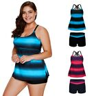 Women's Striped Tankini 2 Piece Set Adjustable Strap Swims