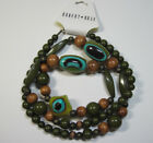 Robert Rose Olive Green and Wood Large Bead Necklace NWT