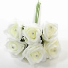 6 Diamante Foam Roses Wedding Flowers All Colours For Bouquets Or Buttonholes