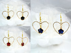 GOLD TONE HEART WITH BLACK, RED OR ROYAL BLUE  FLOWER ACRYLIC CRYSTAL EARRINGS