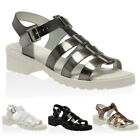 35F WOMENS CUT OUT T-BAR BUCKLE LADIES OPEN TOE JELLIES SANDALS SHOES SIZE 3-8
