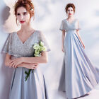 F040 V-Neck Cloak Peals Wedding Bridal dress Formal Evening Prom Party Ball Gown