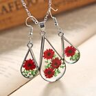 Handmade Real Dried Flowers Rose Glass Pendant Necklace Earrings Set Jewelry Hot