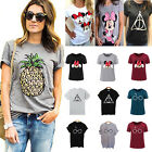 Summer Women's Graphic Printed Loose T-shirt Short Sleeve Ca