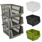 Set of 3 Stackable Storage Basket Kitchen Fruit Vegetable Stacking Container Box