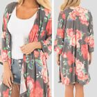 Scarf Collar Women Cardigans Plus Size Casual Shirt Oversize Loose Coat Floral