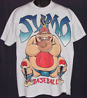 Vintage 1993 SUMO BASEBALL T-Shirt GRAY Cartoon FUNNY NWT NEW Old Stock LARGE