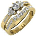1.60 Ct Natural Diamond Bridal Engagement Ring 14Kt Solid Yellow Gold 8.00MM