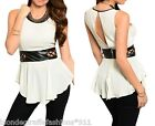 Ivory Lattice Cut-Out Pleather Trim Keyhole Back Sleeveless Peplum Tank Blouse