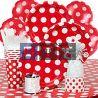 Red Polka Dot Stripes Chevron Quatrefoil Party Napkins Cups Plates Tableware