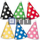 8 Polka Dot Dots Spot Spotty Spots Style Birthday Party Paper Cone Hats
