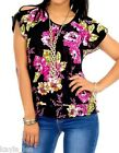 Black/Fuchsia Floral Cap Sleeve Split Shoulder Smocked Hem Top