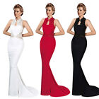 Lace Splicing Sleeveless Fishtail Skirt Gauze Maxi Formal Dress Women Sexy O7505
