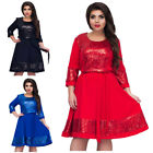 Swing Skirt Long Sleeve Women Flared Skater Dress Paillette Round Neck O7514