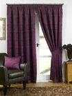 """Aubergine Luxury Swirls Woven Ready Made Fully Lined 3"""" Tape Curtains"""