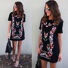 AU!! Womens Floral Printed Loose Long Tops Ladies Summer Crew Neck T Shirt Dress